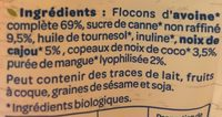 Granola Mangue Cajou - Ingrédients - fr