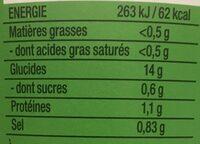 Nouilles de riz thai coriandre et epices - Nutrition facts - fr
