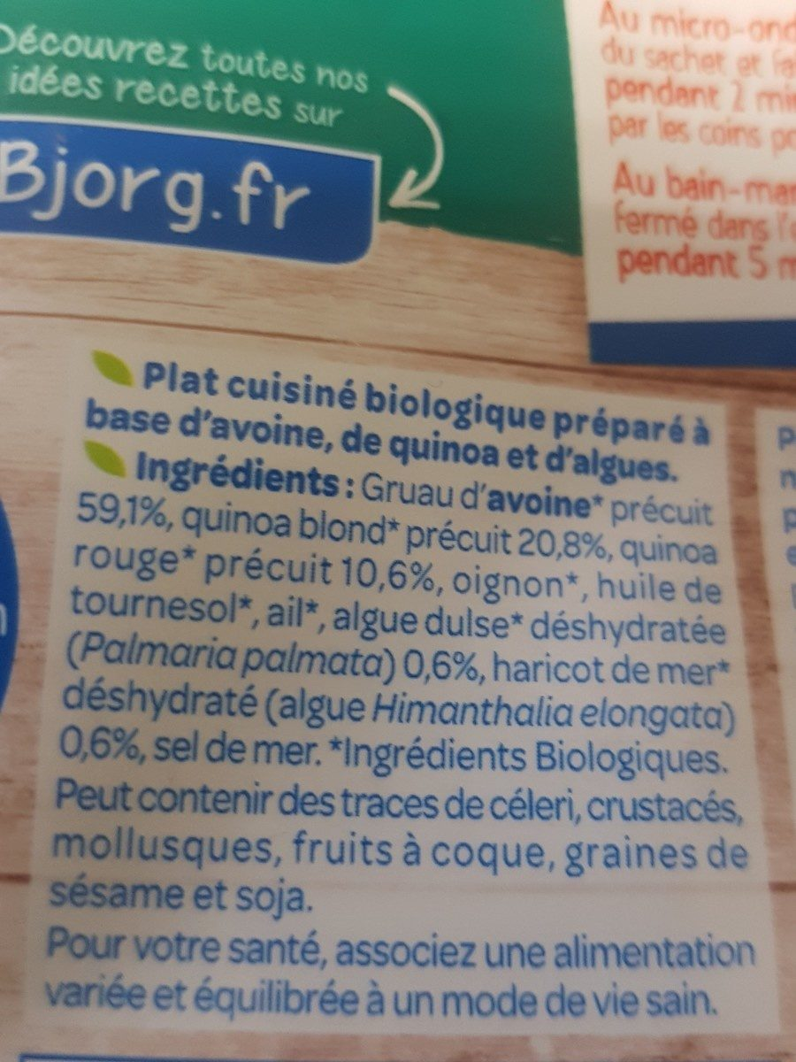 Avoine, Quinoa et Algues - Ingrédients