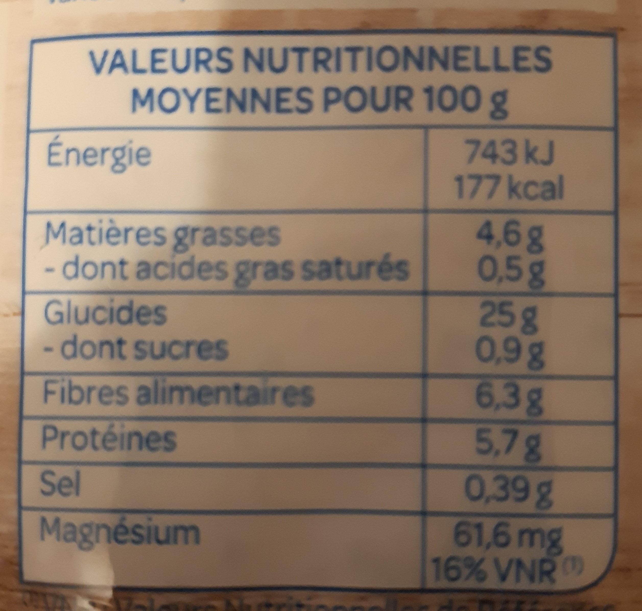 Avoine, Quinoa et Algues - Informations nutritionnelles