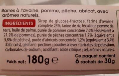 Barres pêche abricot - Ingrediënten