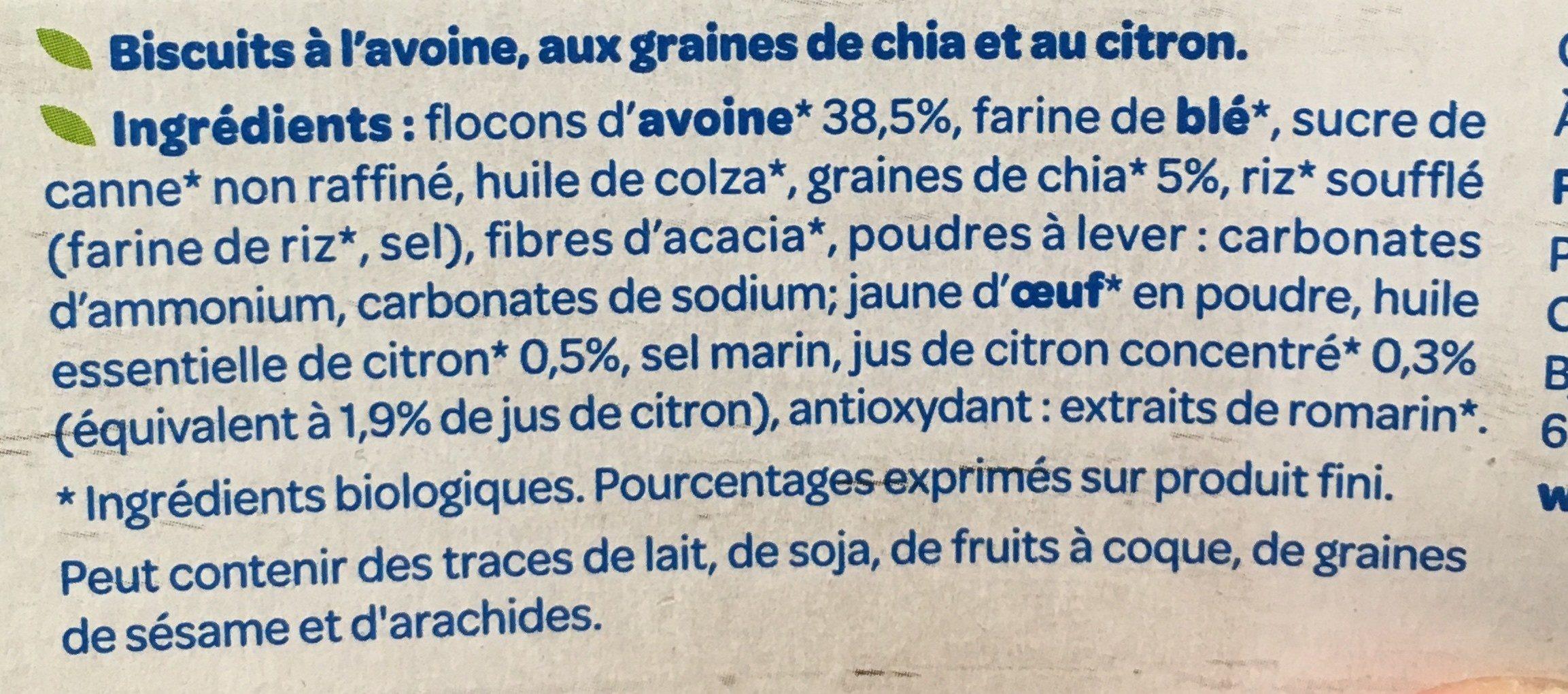 Biscuits avoine citron graines de chia - Ingrediënten - fr