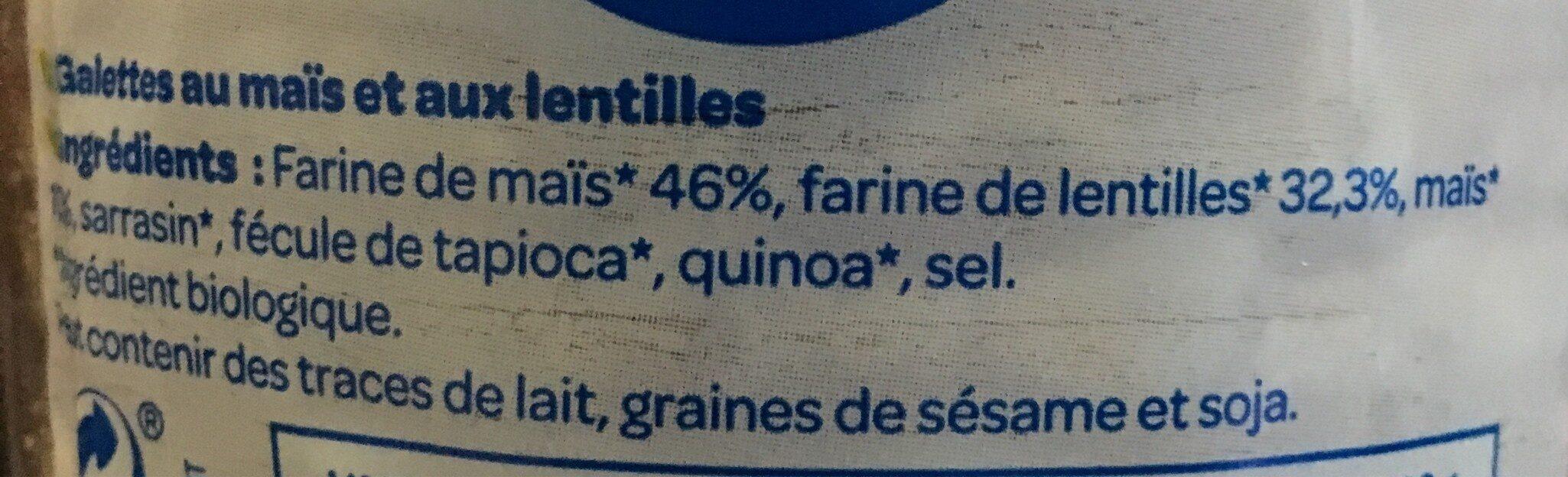 Galette protéines lentille - Ingrédients - fr