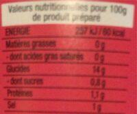 Vietnam Pho Boeuf - Nutrition facts - fr
