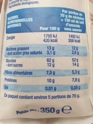 Bjorg granola chocolat - Voedingswaarden - fr