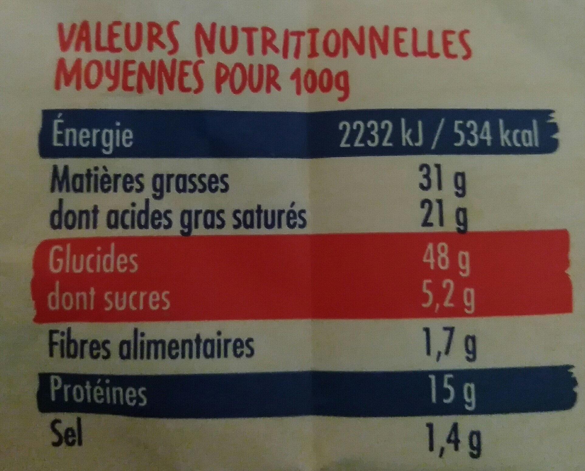 Sablés Mimolette et Cumin - Nutrition facts - fr