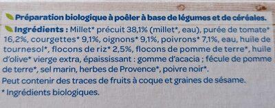 Galettes céréales Légumes du soleil - Ingrédients - fr
