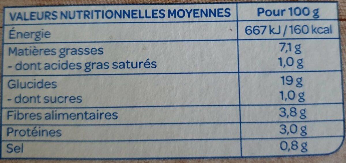 Galettes céréales Légumes du soleil - Informations nutritionnelles - fr
