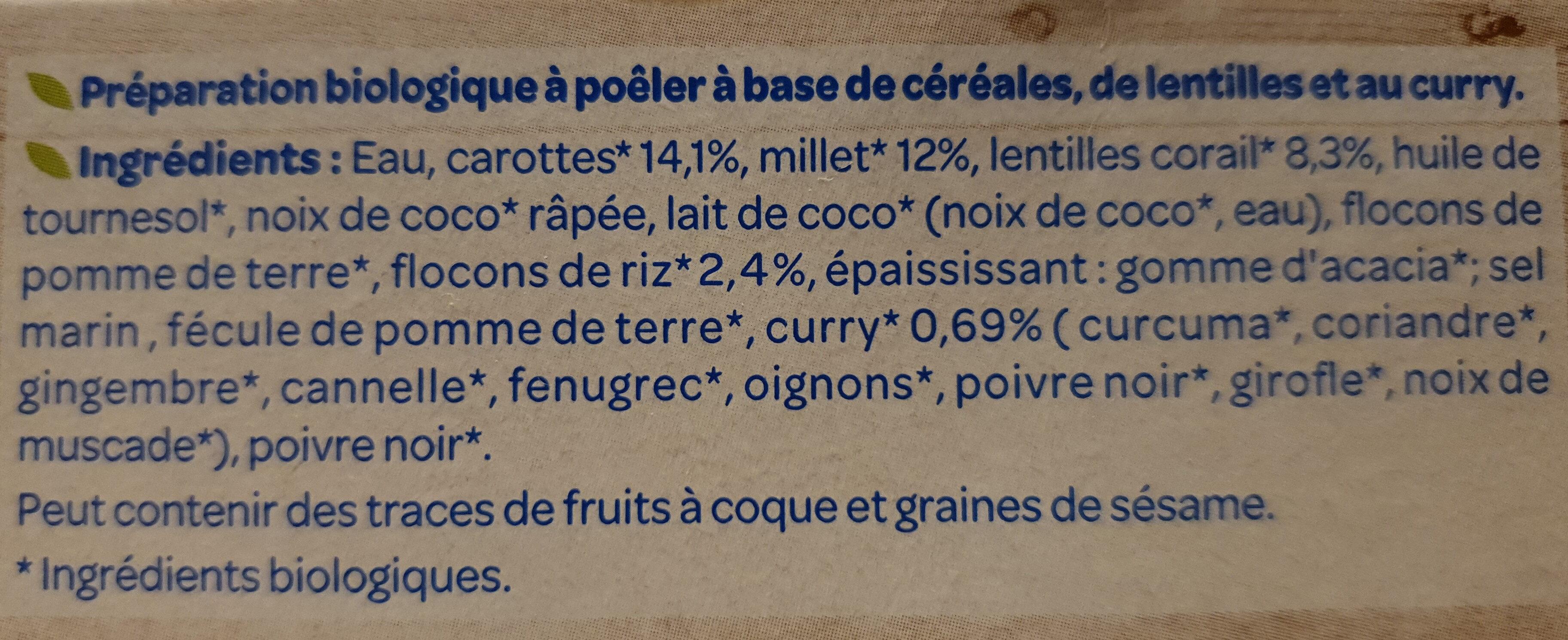 Galettes céréales lentilles et Curry Bio - Ingredienti - fr