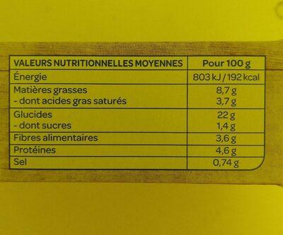 Galettes céréales lentilles et Curry Bio - Valori nutrizionali - fr