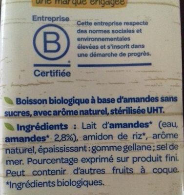 lait d'amande - Ingrédients - fr