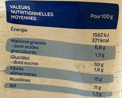 Tartines croustillantes Seigle Sésame - Valori nutrizionali - fr