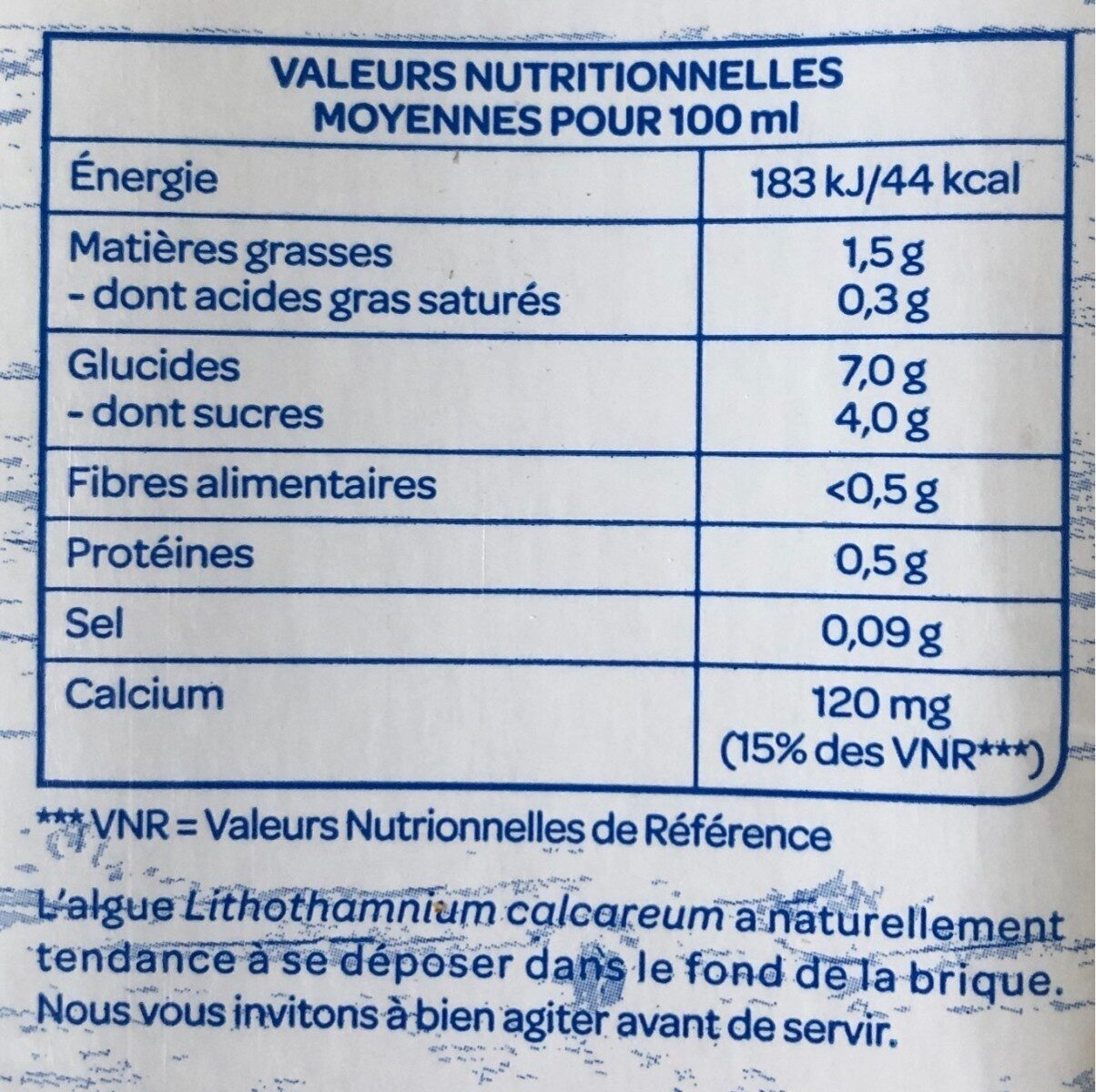 Avoine Calcium - Voedingswaarden - fr