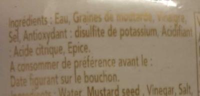 Moutarde de dijon fabriquée à la meule de pierre - Ingrédients