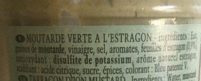 Moutarde verte à l'estragon - Ingredients - fr