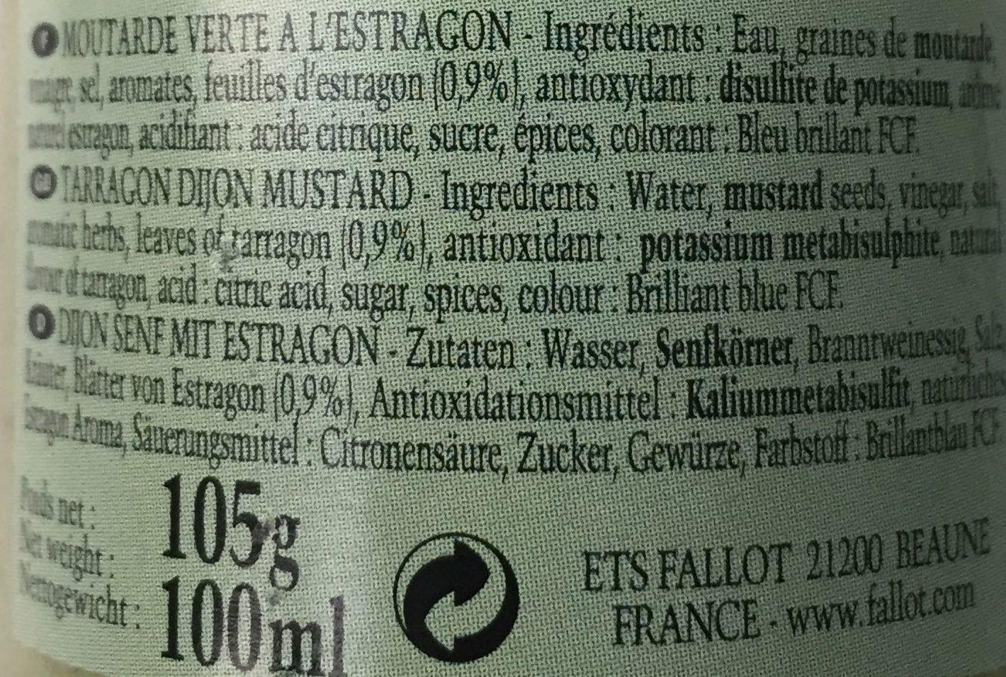 Moutarde verte a l'estragon - Ingrédients - fr