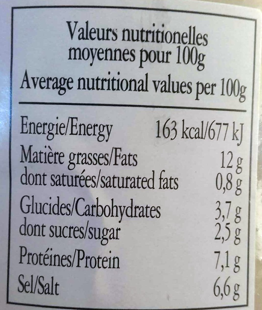 Moutarde de Bourgogne - Nutrition facts - fr