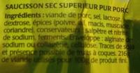 Bâton de Berger Mini Nature (Format Gourmand, 10 Bâtonnets environ) - Ingrediënten - fr
