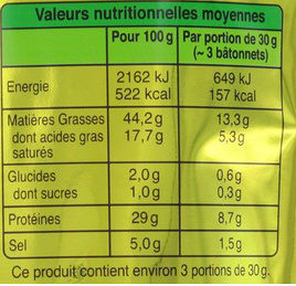 Bâton de Berger Mini Nature (Format Gourmand, 10 Bâtonnets environ) - Voedingswaarden - fr