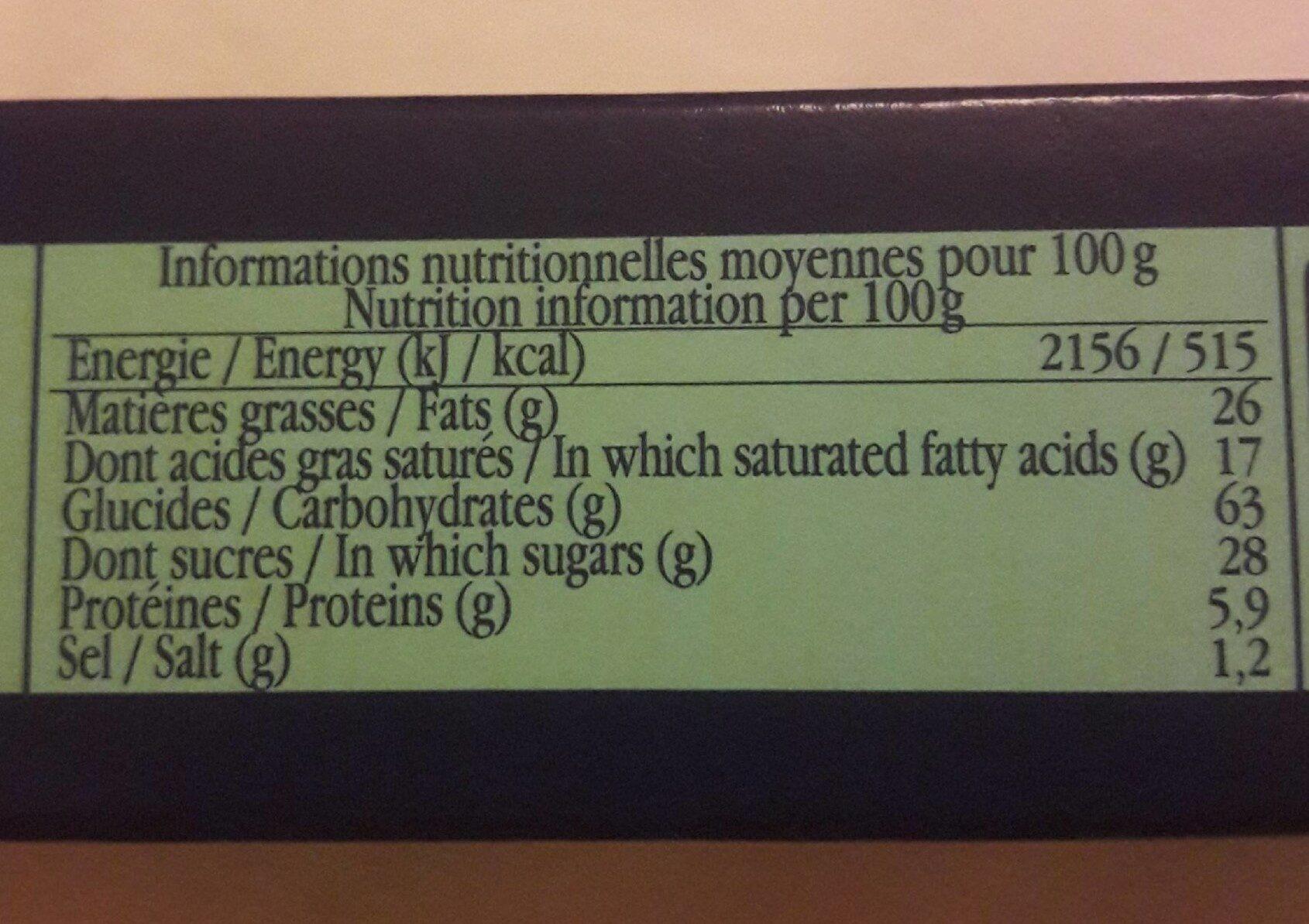 Véritable palet de Bretagne pur beurre - Valori nutrizionali - fr