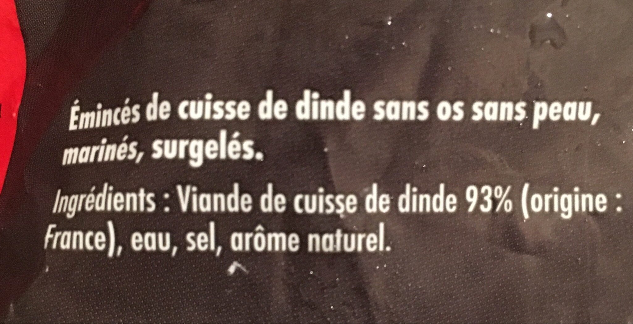 Emincés de dinde - Ingredients - fr