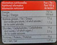Tendres de poulet legerement epices - Informations nutritionnelles - fr