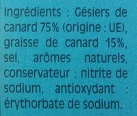 Gésiers de canard confit - Ingrédients - fr