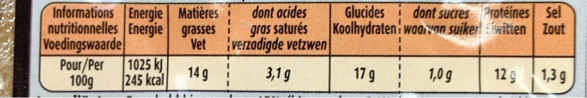 Maitre coq nuggets de poulet sous atmosphere lot - Nutrition facts - fr