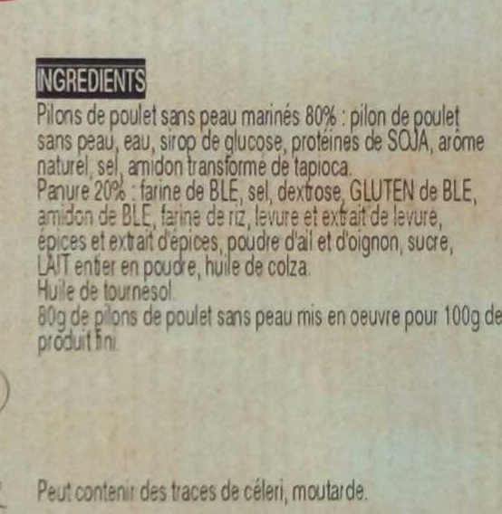 Pilon de Poulet Croustillant - Ingrédients - fr