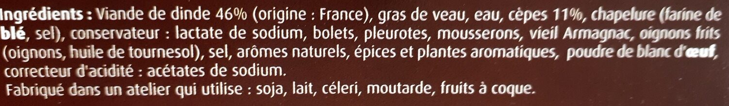 Farce cuisinée aux cèpes - Ingrédients - fr