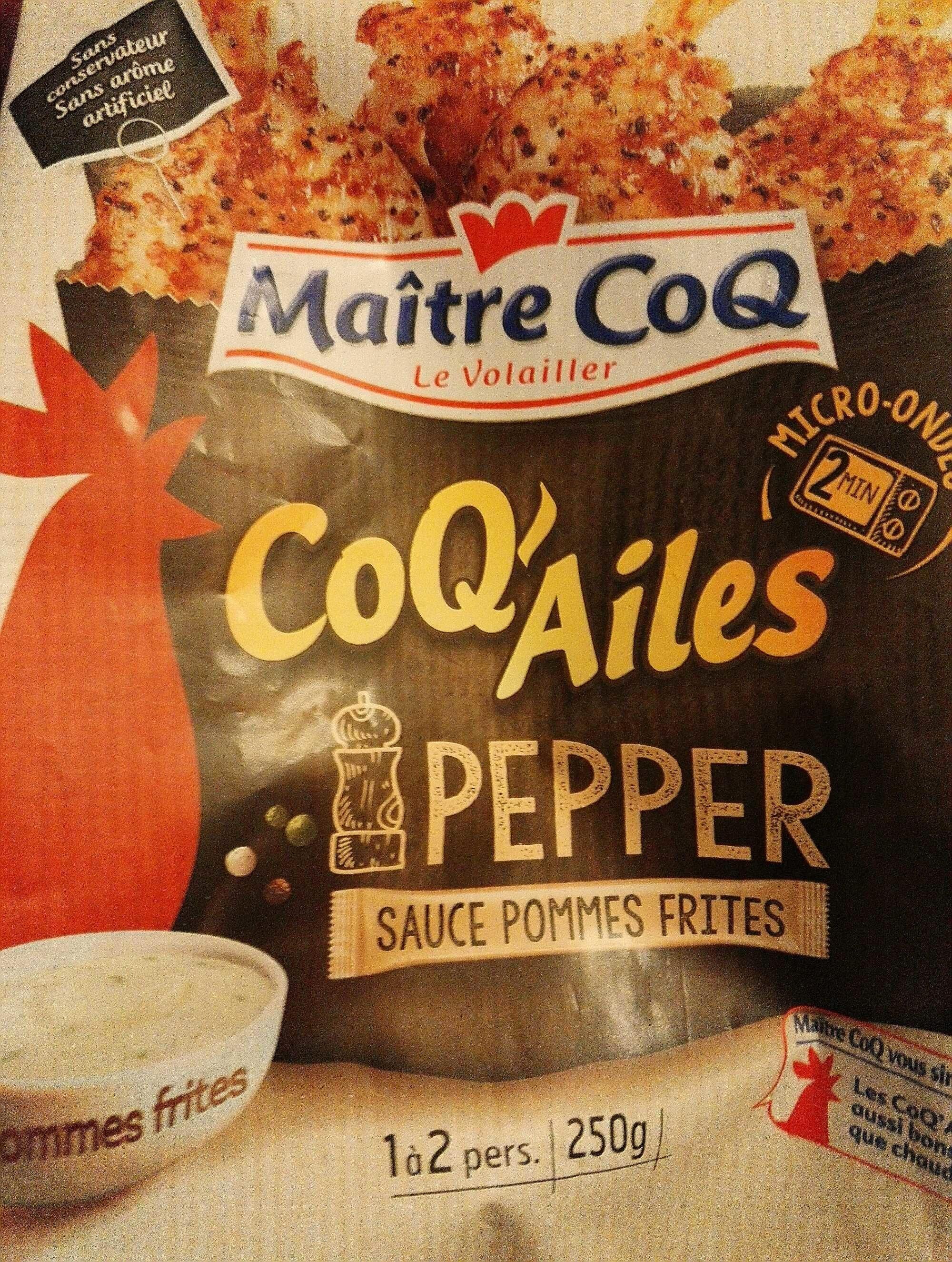 Manchons de poulet marinés 3 poivres, rôtis et sa coupelle de sauce pommes frites, MAITRE COQ,... - Product - fr