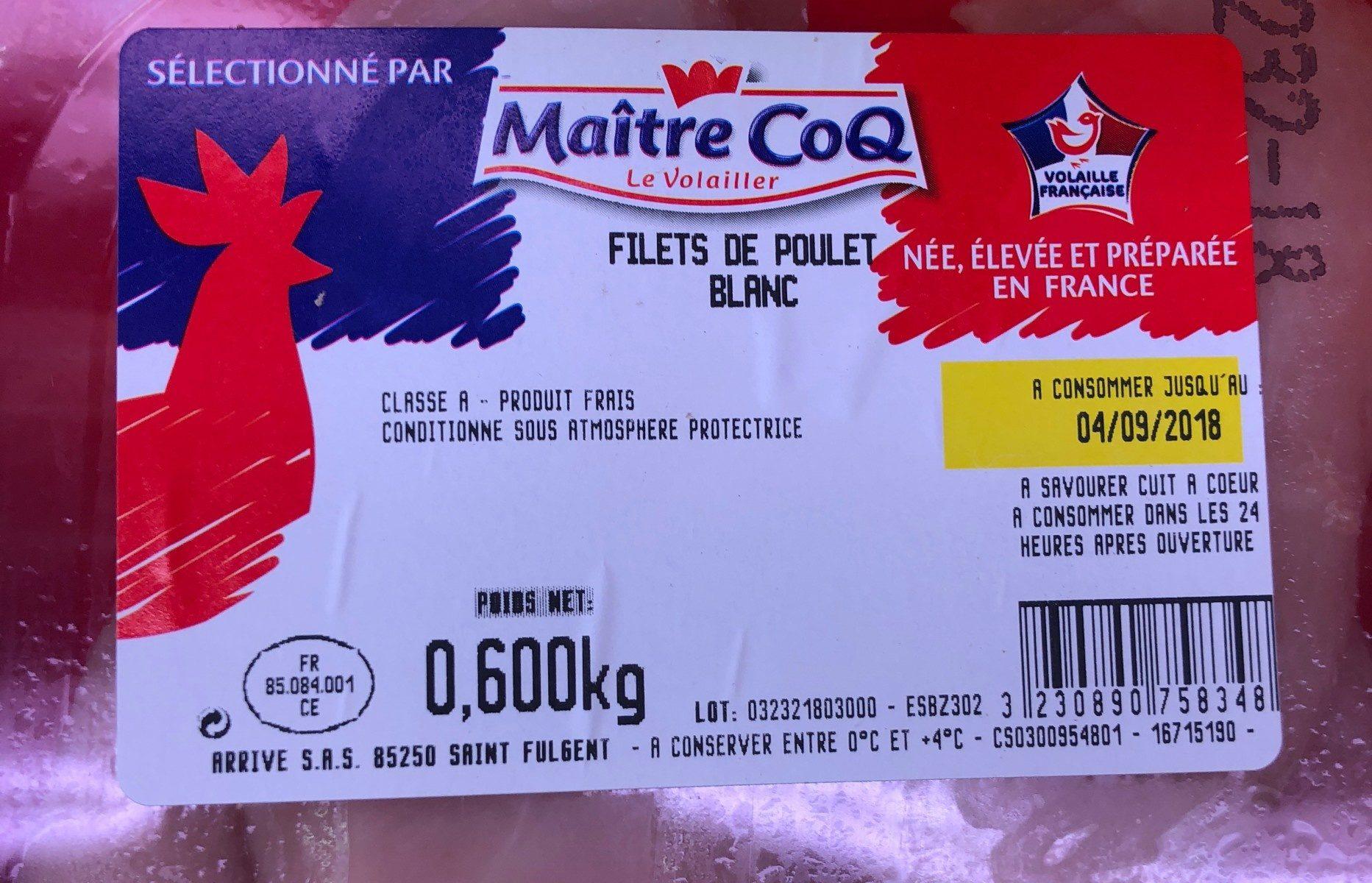 Filets poulet blanc Maître Coq - Ingrediënten
