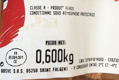 Filets poulet jaune Maitre coq - Ingrédients - fr