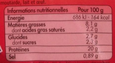 L'Extra de Poulet Grillé Nature - Nutrition facts - fr