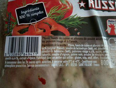 Morceaux choisis de poulet recette russe - Ingrédients