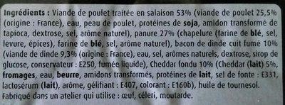 Cordon des supporters Royaume-Uni (Bacon cheddar) - Ingredients
