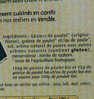 Gésiers de poulet cuisinés en confit bio - Ingrediënten - fr
