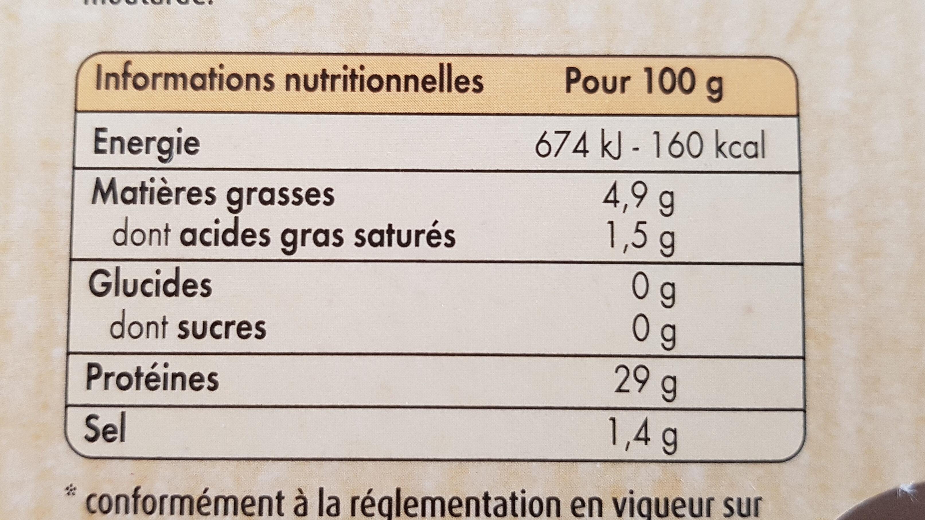Gésiers de poulet cuisinés en confit bio - Voedingswaarden - fr