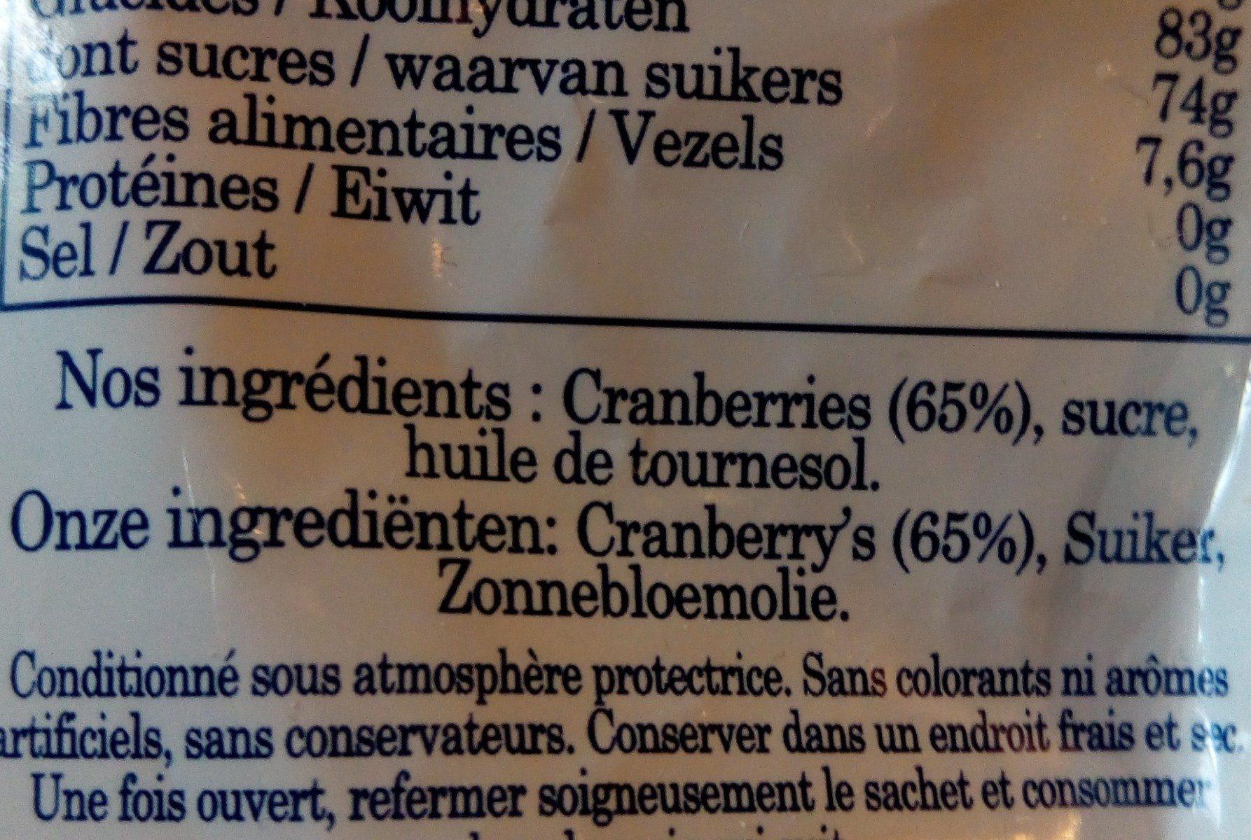 Cranberry original - Ingrediënten