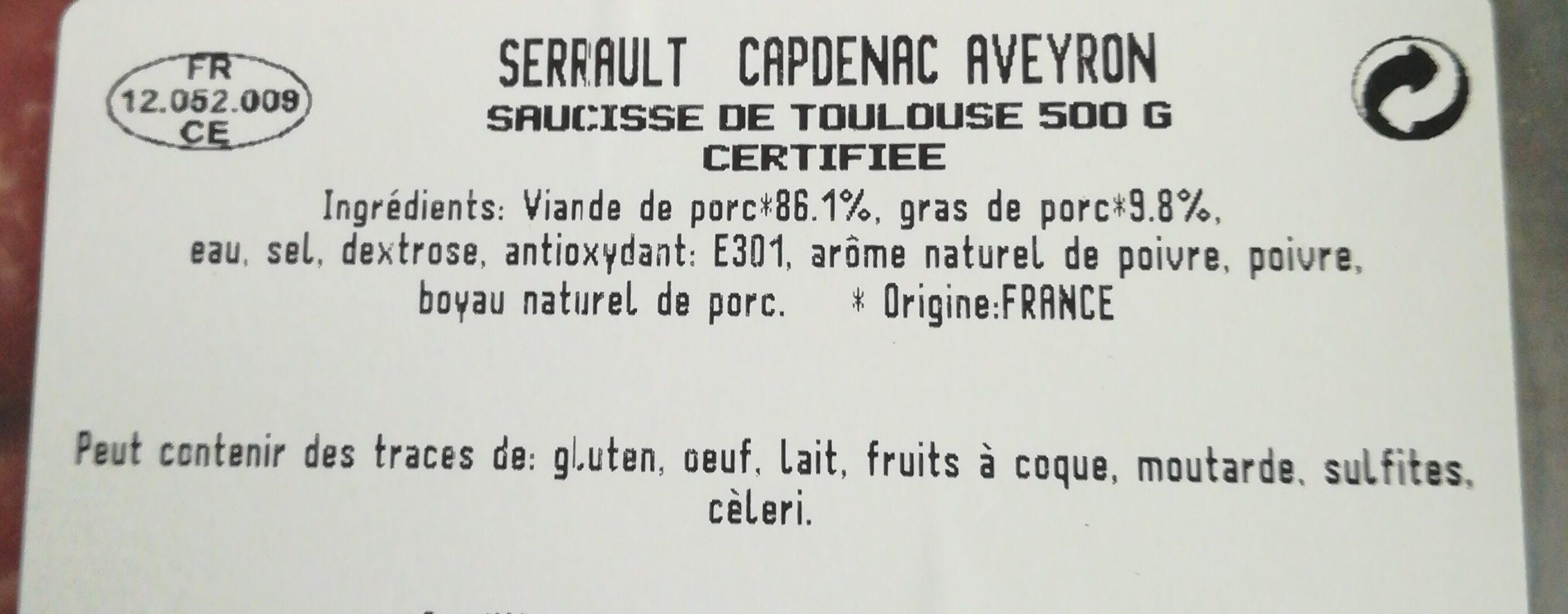 Saucisse de Toulouse - Ingrediënten - fr