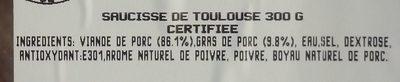 Saucisse de Toulouse Tradition - Ingrediënten - fr