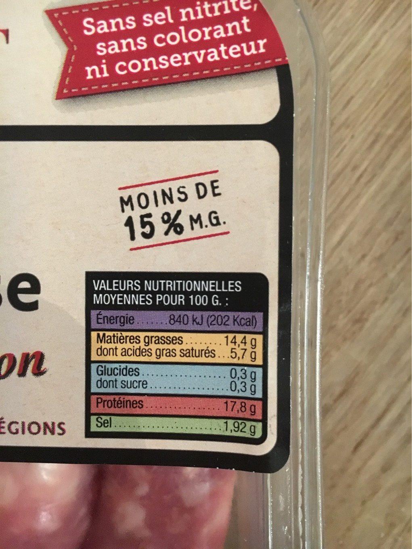 Saucisse de Toulouse Tradition - Voedingswaarden - fr