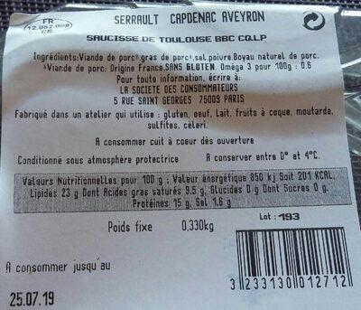 Saucisses de Toulouse C'est qui le Patron ?! - Informazioni nutrizionali