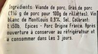 Rillettes de tours - Ingrédients - fr