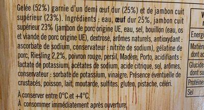 Aspic Oeuf jambon - Ingrédients - fr