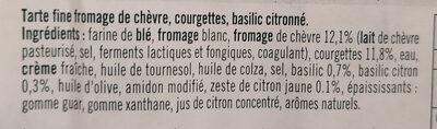 Tarte flambée fine aux courgettes, fromage de chèvre et basilic - Ingrédients - fr