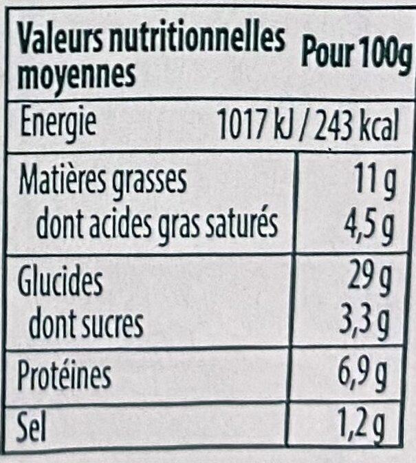 Tarte flambée fine aux courgettes, fromage de chèvre et basilic - Informations nutritionnelles - fr