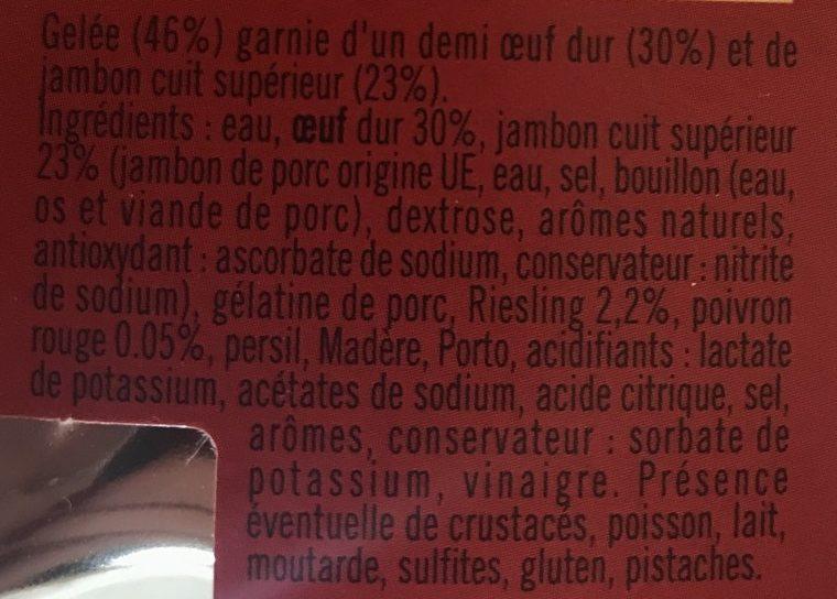 Aspic d'Œufs au Jambon - Ingrédients