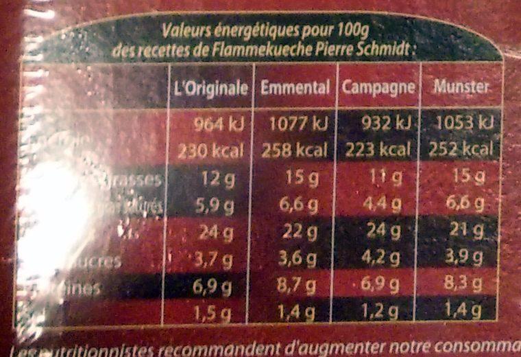 Flammekueche L'Originale - Informations nutritionnelles - fr