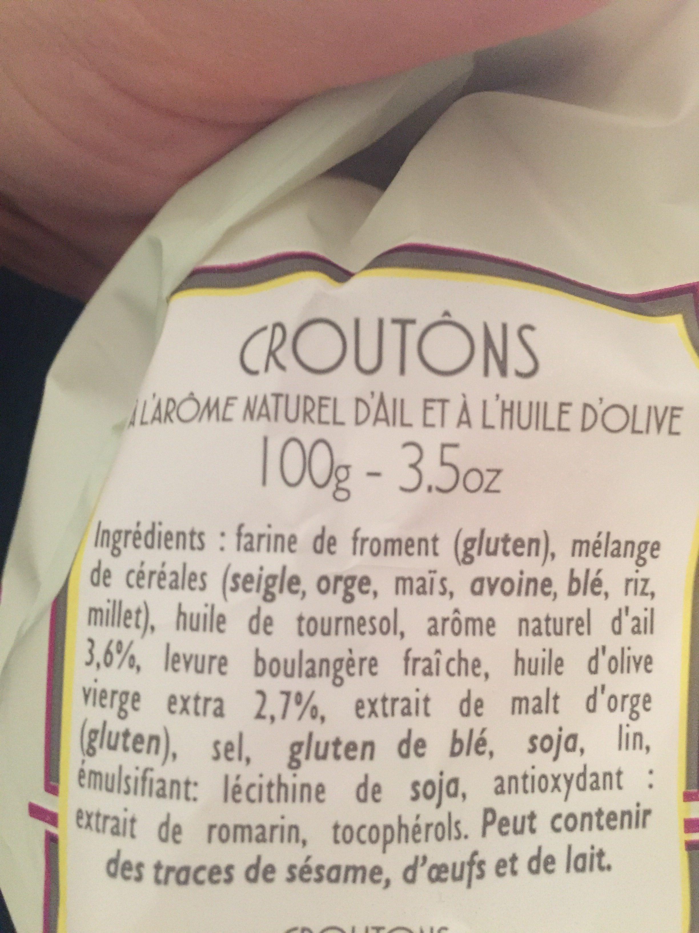 Croûtons à l'Huile d'Olive parfumés à l'Ail - Ingrédients - fr